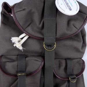 Tommy Bahama Canvas Leather Rucksack Backpack NWT